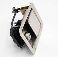 "Large Flush Size, Rotary Paddle Handle, .250"" Striker, Electronic Locking, Stainless Steel. Striker Separate"