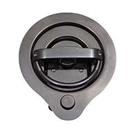 Compression D Ring, large cup, LH locking, 3 points of engagement, CD studs for mounting and is made of polished 304 stainless steel. Strattec Double bitted Key Cylinder installed