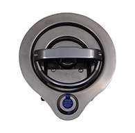 Compression D Ring with FORD Codeable Key Cylinder installed, large cup, RH locking, 3 points of engagement, CD studs for mounting and is made of polished 304 stainless steel