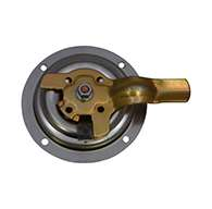 The original D Ring, non locking, small cup, left hand, has 1 point of engagement, mounting holes and is made of polished 304 stainless steel