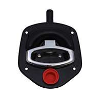 Guardian® compression latch, single point, black powder coat, mounting holes. Left hand. Codeable cylinder ordered separately