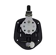 Guardian® compression latch, single point, black powder coat, mounting holes. Left hand.