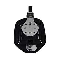 Guardian® compression latch, single point, chrome plated, mounting holes. Left hand.