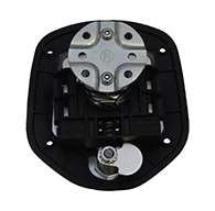 Guardian® compression latch, 2 point, black powder coat, mounting holes. Left hand.