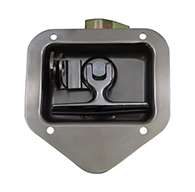 T-handle, Small, Single Point, polished stainless steel, mounting holes, with hasp.
