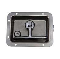 T-handle, Large, 3 Point, LH, Polished stainless steel, mounting holes, locking. Left hand.