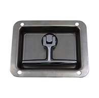 T-handle, Small, Slamming Single Point, polished stainless steel, mounting holes, non-locking.