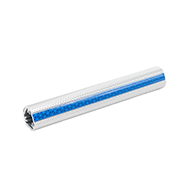 """Clear anodized aluminum knurled 1.25"""" 12' rail with blue reflective inserts"""