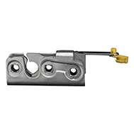 """Full size 2 stage rotary latch with a perpendicular pull lever arm with rod clip, right hand, zinc plated. Accepts .550"""" striker."""