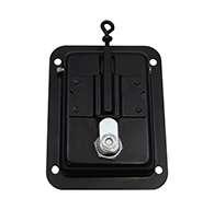 Large Flush Size Single Point Paddle Handle, Cable Eye, Locking, Black Powder Coated Steel