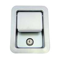 Large Flush Size Single Point Paddle Handle, 30° Powder Metal Bolt, Locking, Zinc Plated Steel, No Mounting Holes