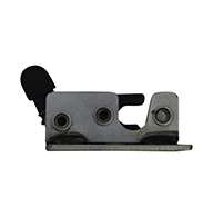 Small 2 stage rotary latch, with base plate, right hand, zinc plated. Accepts .375 diameter striker.